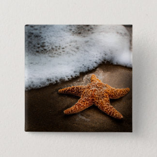 Lonely Starfish On The Beach 15 Cm Square Badge