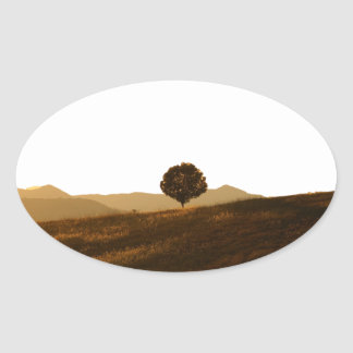 Lonely Tree Oval Stickers