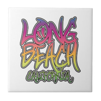 Long Beach Graffiti Small Square Tile