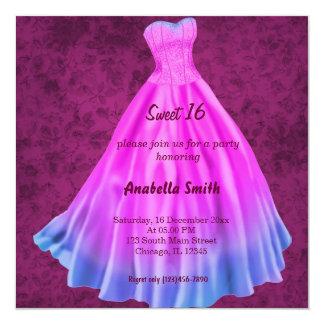 Long dress Sweet 16 (Pink) 13 Cm X 13 Cm Square Invitation Card