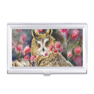 Long-eared owl watercolor painting business card holder