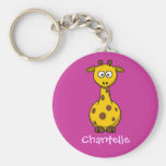 Long giraffe basic round button key ring