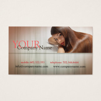 Long Hair Stylist Haircut Specialist Model Woman Business Card