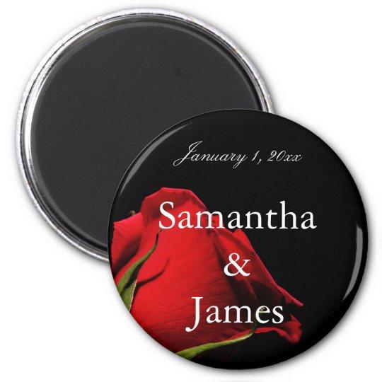 Long Stemmed Red Rose Personal Wedding Magnet