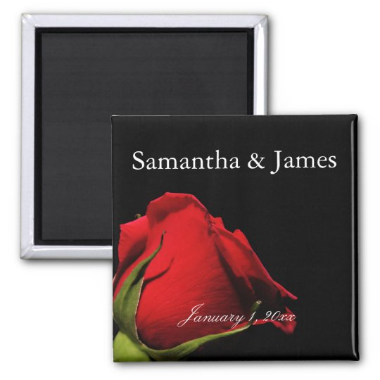 Long Stemmed Red Rose Personal Wedding Magnet