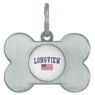 Longview TX US Flag Pet Tag