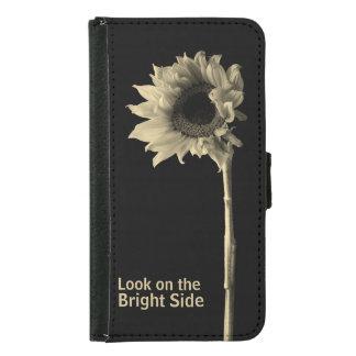 """Look on the Bright Side"" Sunflower Portrait Samsung Galaxy S5 Wallet Case"