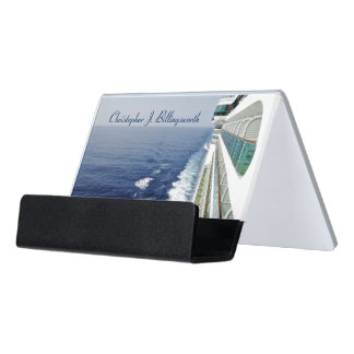 Looking Down Balcony Row Personalized Desk Business Card Holder