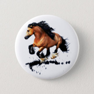 Lord Creedence Gypsy Vanner Horse 6 Cm Round Badge