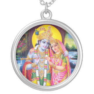 Lord Krishna & Radha Silver Plated Necklace
