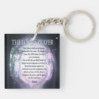 Lord's Prayer Double-Sided Square Acrylic Key Ring