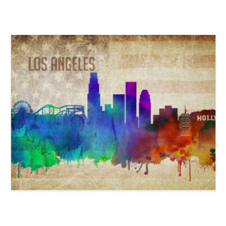 Los Angeles, CA | Watercolor City Skyline Postcard