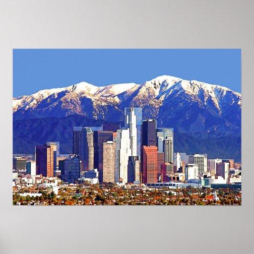 Los Angeles California City & San Gabriel Mountain Poster