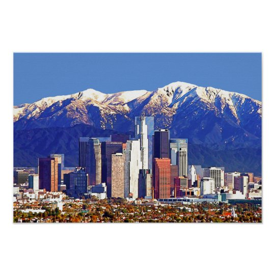 Los Angeles California City & San Gabriel Mountain Poster