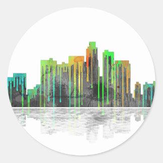 Los Angeles California Skyline Round Sticker
