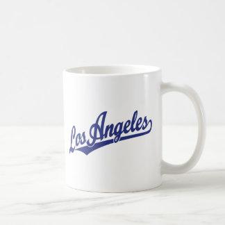 Los Angeles script logo in blue Coffee Mug