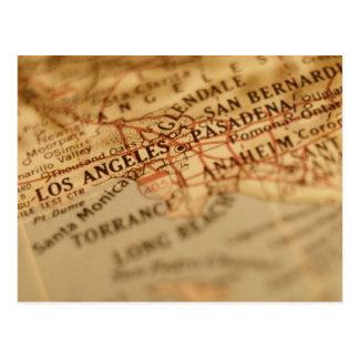 LOS ANGELES Vintage Map Postcard