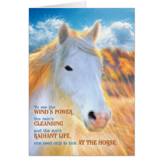 Loss of a Horse Pet Sympathy - Painted White Pony Card
