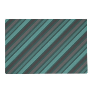 Lost at Sea Green Diagonal Pinstripes Laminated Place Mat