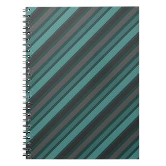 Lost at Sea Green Diagonal Pinstripes Notebook