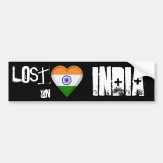 Lost in India Flag Heart Bumper Sticker