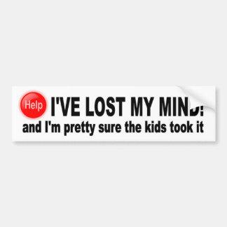 Lost My Mind, Pretty sure the kids took it funny Bumper Sticker