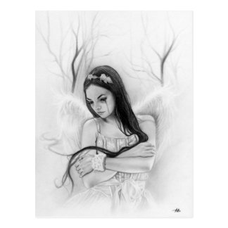 Lost sad angel emotional postcard