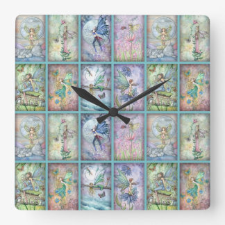 Lots of Flower Fairies Square Wall Clock