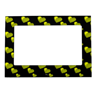Lots of Love (Heart Pattern) (Yellow) Picture Frame Magnet