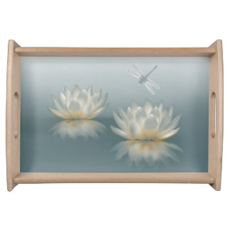 Lotus and Dragonfly Serving Tray