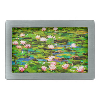 Lotus Blossoms On The Protected Forest Lake Belt Buckles