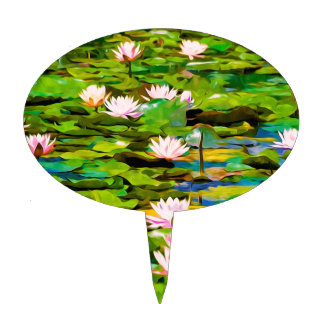 Lotus Blossoms On The Protected Forest Lake Cake Topper