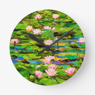 Lotus Blossoms On The Protected Forest Lake Round Clocks