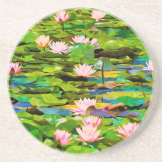 Lotus Blossoms On The Protected Forest Lake Beverage Coasters