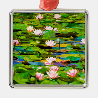 Lotus Blossoms On The Protected Forest Lake Christmas Ornament