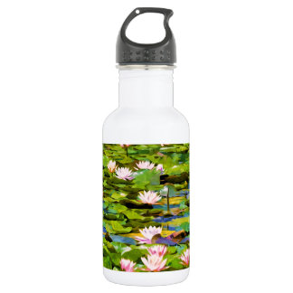 Lotus Blossoms On The Protected Forest Lake 18oz Water Bottle