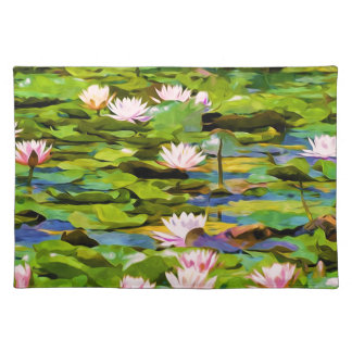 Lotus Blossoms On The Protected Forest Lake Place Mats
