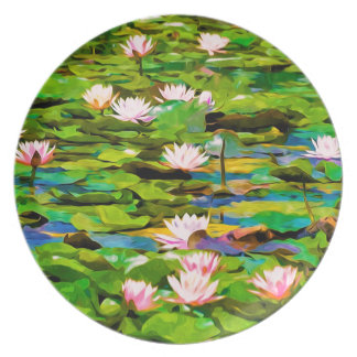 Lotus Blossoms On The Protected Forest Lake Dinner Plate