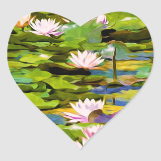 Lotus Blossoms On The Protected Forest Lake Heart Stickers