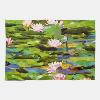 Lotus Blossoms On The Protected Forest Lake Kitchen Towels