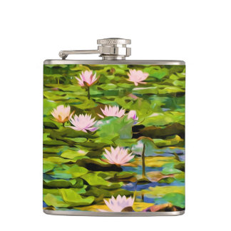 Lotus Blossoms On The Protected Forest Lake Hip Flask
