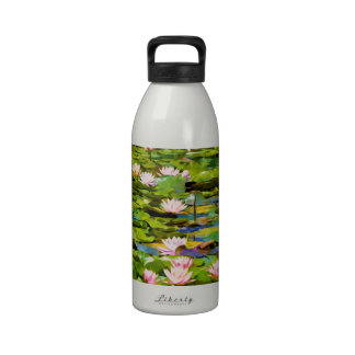 Lotus Blossoms On The Protected Forest Lake Water Bottles