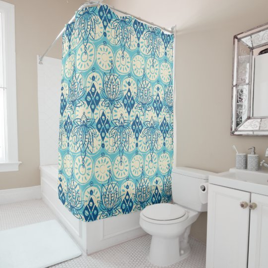 lotus diamond blue shower curtain