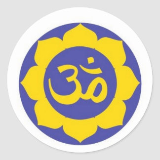 lotus flower - aum meditation classic round sticker