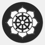 Lotus Flower Dharma Wheel Round Sticker