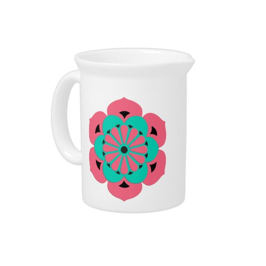 Lotus Flower Mandala, Coral Pink and Turquoise Drink Pitcher