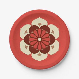 Lotus Flower Mandala, Mandarin Orange Paper Plate