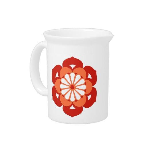 Lotus Flower Mandala, Pastel Orange and Mandarin Pitchers