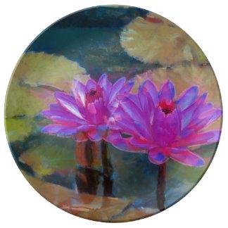 Lotus Flowers in Bloom Plate