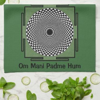 Lotus meditation dharma wheel tea towel